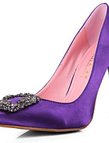 Women's Shoes Silk Stiletto Heel Heels/Platform/Pointed Toe/Closed Toe Pumps/Heels Casual Black/Purple/Red/Beige