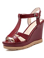 Women's Shoes Wedge Heel/Open Toe/Platform/Ankle Strap/ Sandals Dress Burgundy/Black