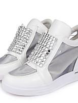 Chaussures Femme Similicuir Talon Plat Bout Arrondi Baskets à la Mode Décontracté Blanc/Argent