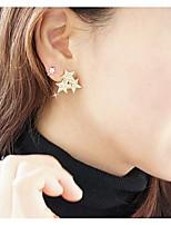Lovely Diamond Three Three-pointed Stars Stud Earrings