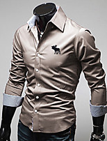 High-Quality Chinese Style Mens Shirts Fashion 2015 Long-Sleeve Shirt 5 Color M-4XL