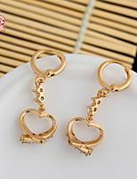 KuNiu Women's 18K Gold Plated Trendy Cute Heart Shaped Crystal  Earrings ER0228