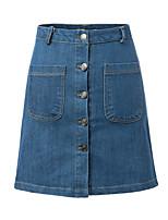 Women's Bodycon/Casual/Party/Work Micro-elastic Above Knee Skirt (Denim)