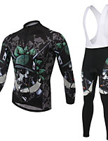 WEST BIKING® Breathable Men's MTB Clothing Suit Wicking Skeleton Cycling Bib Long Suit Long Sleeves Bib Pants