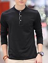 Han&Chloe®Men's V Neck High Quality Plain Blank Lycra Long Sleeve T-shirt