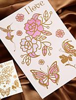 4PCS Gold Tattoo Metal Tattoo Flash Tattoo Temporary Tattoo Sticker Metallic Tattoo (Changing Color in Sunshine)