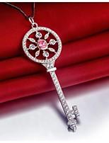 T Brand Pendant Key Design Genuine Sterling Silver SONA Simulate Diamond Pendant for Women 18inch Free Necklace Jewelry