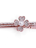 Woman's Fashion Clover Crystal Pearl Hairpin FX0003