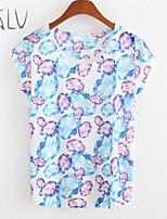 Women's Blue Gem Print Casual Stretchy Short Sleeve Regular T-shirt (Cotton/Spandex/Cotton Blends)