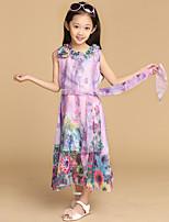 Girl's Summer Micro-elastic Opaque/Thin Sleeveless Dresses/Blouses (Chiffon)