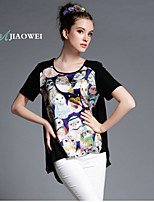 Women's Sexy/Casual/Print/Cute/Party/Work/Plus Sizes Micro-elastic Short Sleeve Regular T-shirt (Polyester)