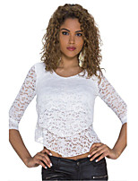 Women's Double-layer Front Sheer Lace Top