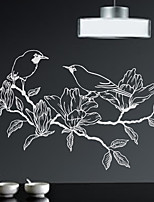 Wall Stickers Wall Decals, Modern Hand painted bird leaves PVC Wall Stickers