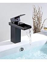 Aquafaucet Brass Oil Rubbed Bronze Waterfall Spout Bathroom Sink Vessel Faucet