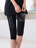 Women Solid Color/Print Legging , Cotton Medium
