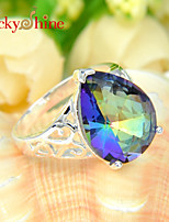 Lucky Shine Women's/Kid's Unisex Silver Classic Rings With Gemstone Fire Drop Rainbow Mystic Topaz Crystal