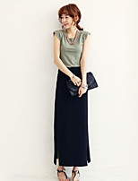 Women's Sexy Bodycon Casual Micro Elastic Thin Maxi Skirts (Cotton)