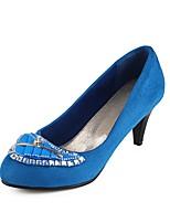 Women's Shoes Fleece Kitten Heel Heels/Round Toe Pumps/Heels Dress Black/Blue/Purple