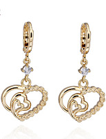 KuNiu Women's 18K Gold Plated  Lovely Heart Drop Earrings ER0224