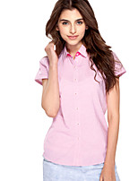 JAMES Summer Women's Slim  Pink-White-Strips  Short Sleeve Shirt/ Blouse Business Casual  New Hot Fashion