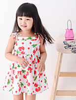 Girl's Summer Simple Camisole Fruit Printing Sleeveless Dresses (Cotton Blends)
