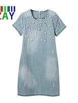 ZAY Women's Casual Beaded Short Sleeve Above Knee Demin Dress
