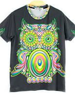European Style TEE Digital Printing 3D T-shirt Colorful Owl Harajuku Sleeved T-shirt