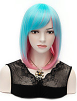 Popular Medium Length Synthetic Hair Mix Blue and Pink Color Women Bob Wig
