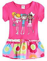 Girl's Short Sleeves Fuchsia Dress Children Dresses(Random Printed)