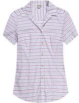 Women's Short Sleeve Cotton Striped Shirts