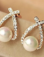 European Style Fashion Rhinestone Crossover Pearl Earrings
