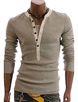 Men's European Fashion V Neck Long Sleeve T Shirt