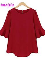Women's Casual Micro-elastic ½ Length Sleeve Regular Blouse (Cotton)