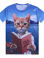 European Style TEE Digital Printing 3D T-shirt Reading Cat Harajuku Sleeved T-shirt