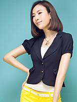 Women's Solid Casual/Cute/Work Notch Lapel Short Sleeve Bow/Button/Criss-Cross