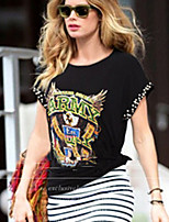 Damen T-Shirt  -  Niete Baumwolle Kurzarm Rundhalsausschnitt