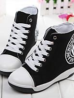 Zapatos de mujer Tela Tacón Bajo Punta Redonda Sneakers a la Moda Casual Negro/Azul/Blanco