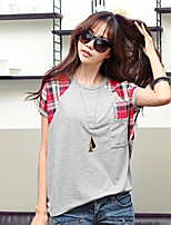 Women's Patchwork Gray T-shirt , Casual Round Neck Short Sleeve