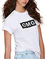 Women's Casual Crew Neck Short Sleeve Letter Printed White Short T Shirt