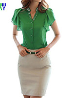 ZAY Women's Casual/Work Beads V Neck Short Sleeve Slim T-shirt