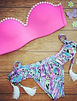 Bikini Da donna Fantasia floreale Push-up A fascia Nylon/Elastene