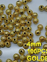 N136 100pcs/lot Golden 4mm Metal Rhinestones Nail Art Round Shape with Hole in Rhinestone & Decoration
