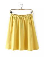 De las mujeres Faldas - Sobre la rodilla Casual Microelástico - Mezclas de Algodón