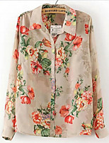 Women's Print Beige Shirt , Shirt Collar Long Sleeve Flower