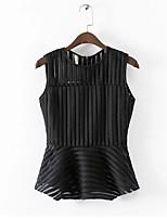 Women's Solid Black T-shirt Sleeveless