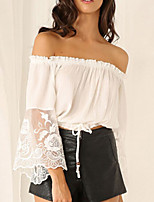 Women's Solid/Lace Blue/White Blouse , Bateau Long Sleeve Backless