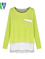 ZAY Women's Casual/Work Micro-elastic Long Sleeve Slim Vogue Pure Color  Regular T-shirt