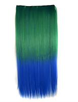 dobbel farge rette syntetisk tykt hår extensions clip-on hair