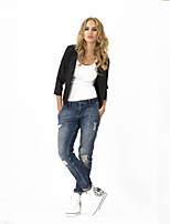 Women's Solid Blue/Black/Purple/Beige Blazer , Casual Round Neck ¾ Sleeve