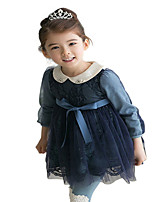Kids Girls Spring Fall Long Sleeved Doll Neck Lace Bow Party Dresses (Cotton Blends/Lace)